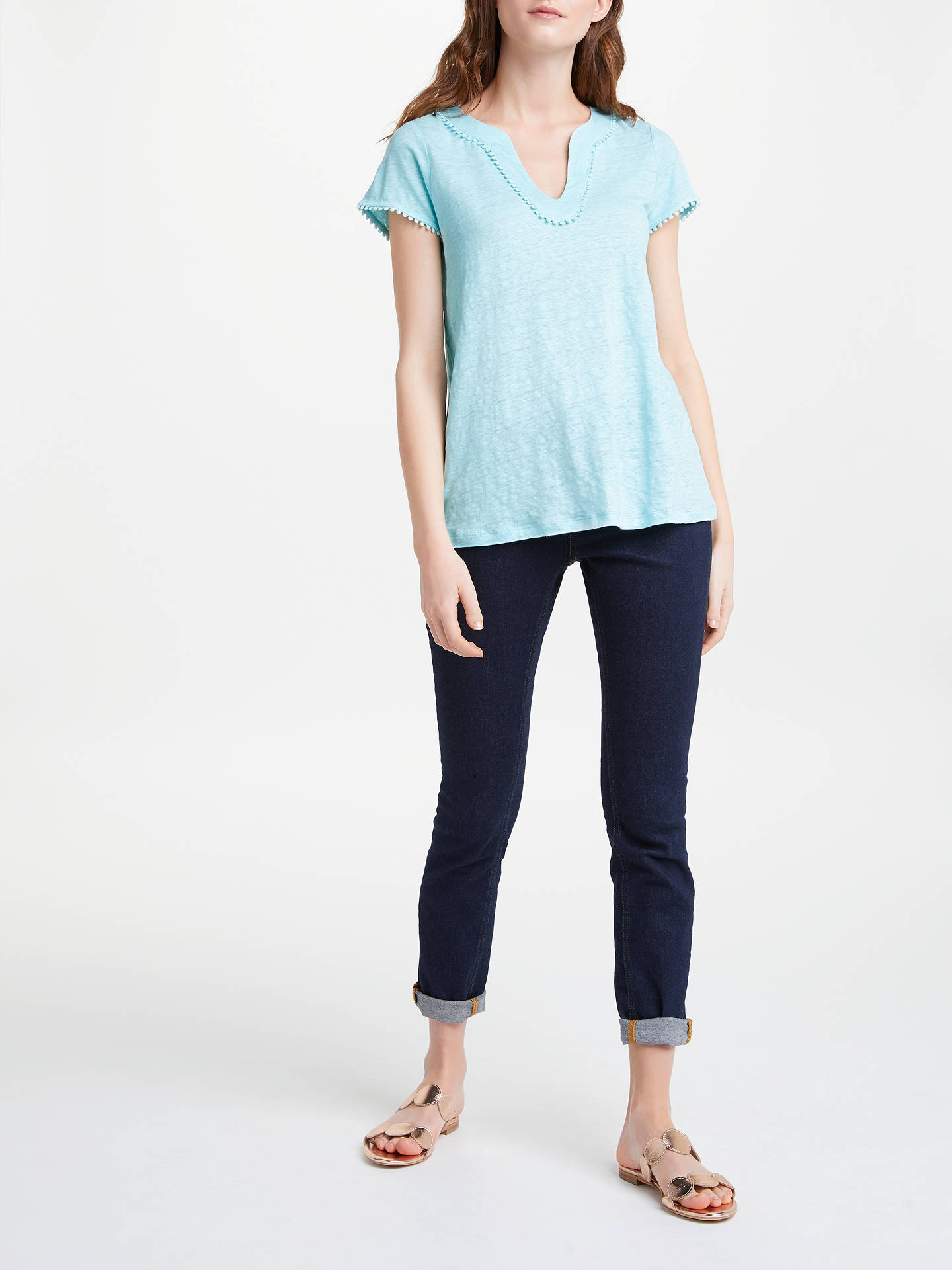 BuyBoden Linen Notch Neck Jersey Top, Pale Icicle, XS Online at johnlewis.com
