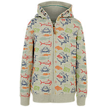 Buy Fat Face Boys' Deep Sea Print Zip Through Hoodie, Grey Online at johnlewis.com