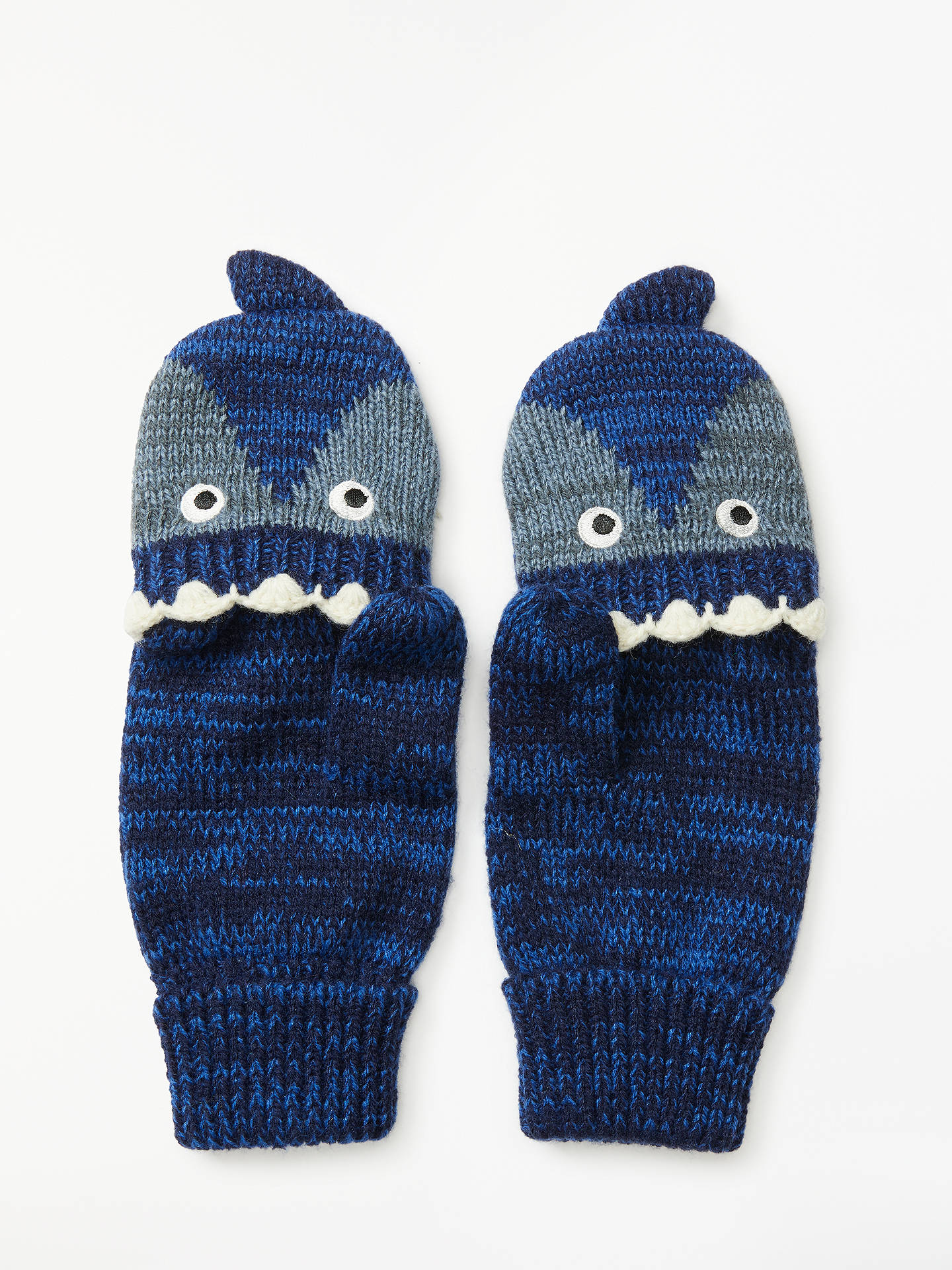 BuyJohn Lewis & Partners Children's Shark Flip Top Gloves, Grey/Navy, 3-5 years Online at johnlewis.com