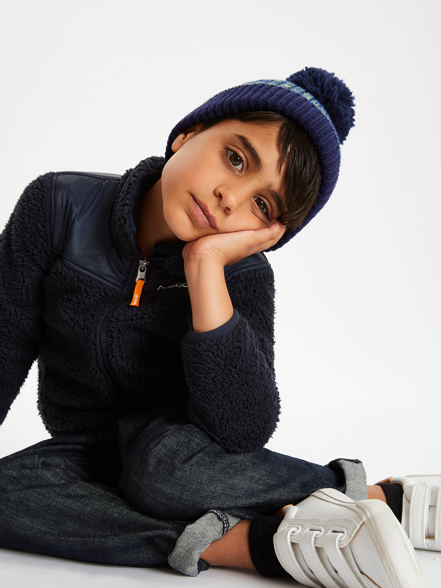 BuyJohn Lewis & Partners Children's Neon Colour Block Beanie Hat, Blue, 3-5 years Online at johnlewis.com