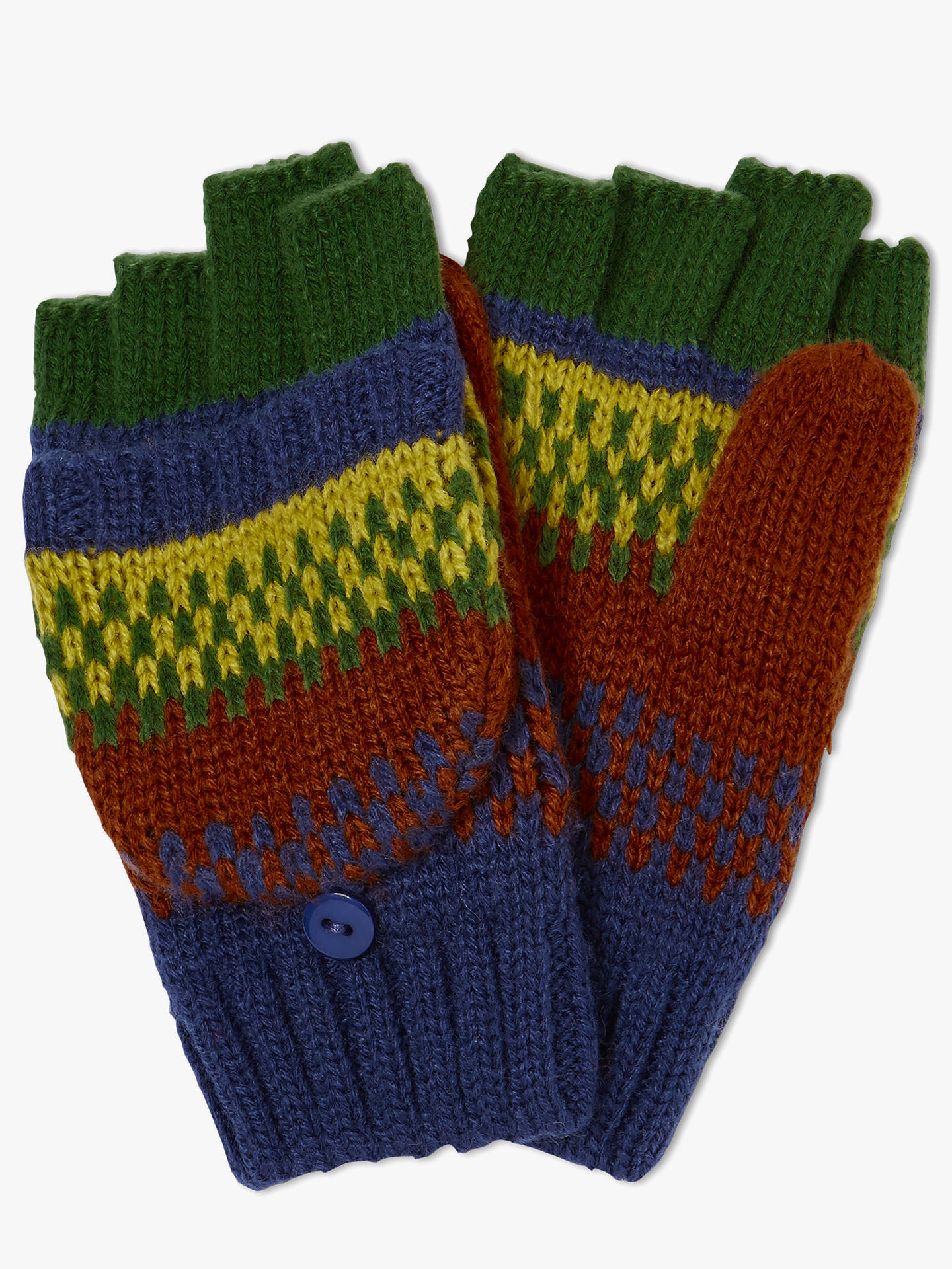 Buy John Lewis & Partners Children's Stripe Flip Top Gloves, Blue/Multi, 3-5 years Online at johnlewis.com