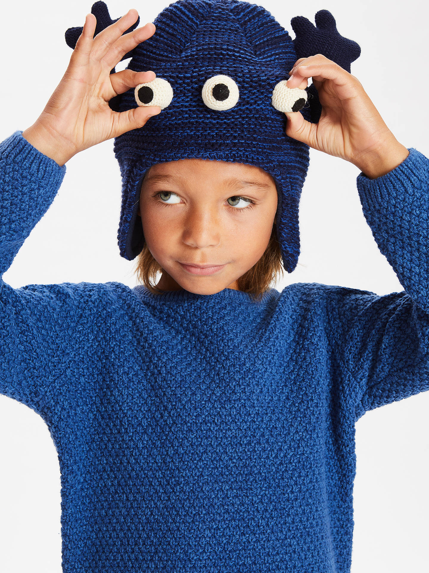 BuyJohn Lewis & Partners Children's Monster Trapper Hat, Blue, 3-5 years Online at johnlewis.com
