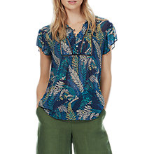 Buy Brora Silk Chiffon Ruffle Blouse, Indigo/Lemongrass Online at johnlewis.com