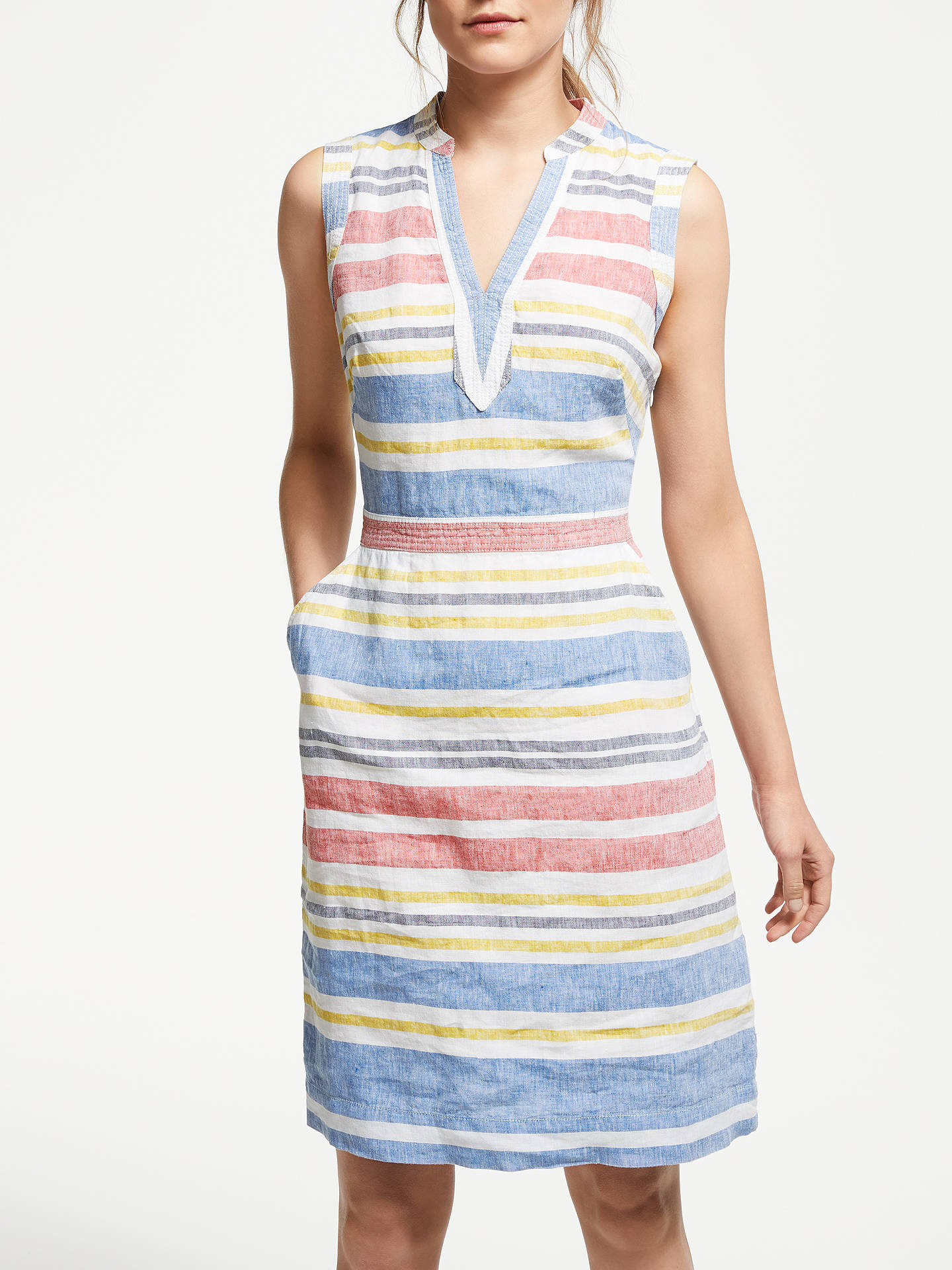 7b6d8b26f4 Buy Boden Linen Notch Neck Dress, Mid Vintage/Stripe, 8 Online at johnlewis  ...