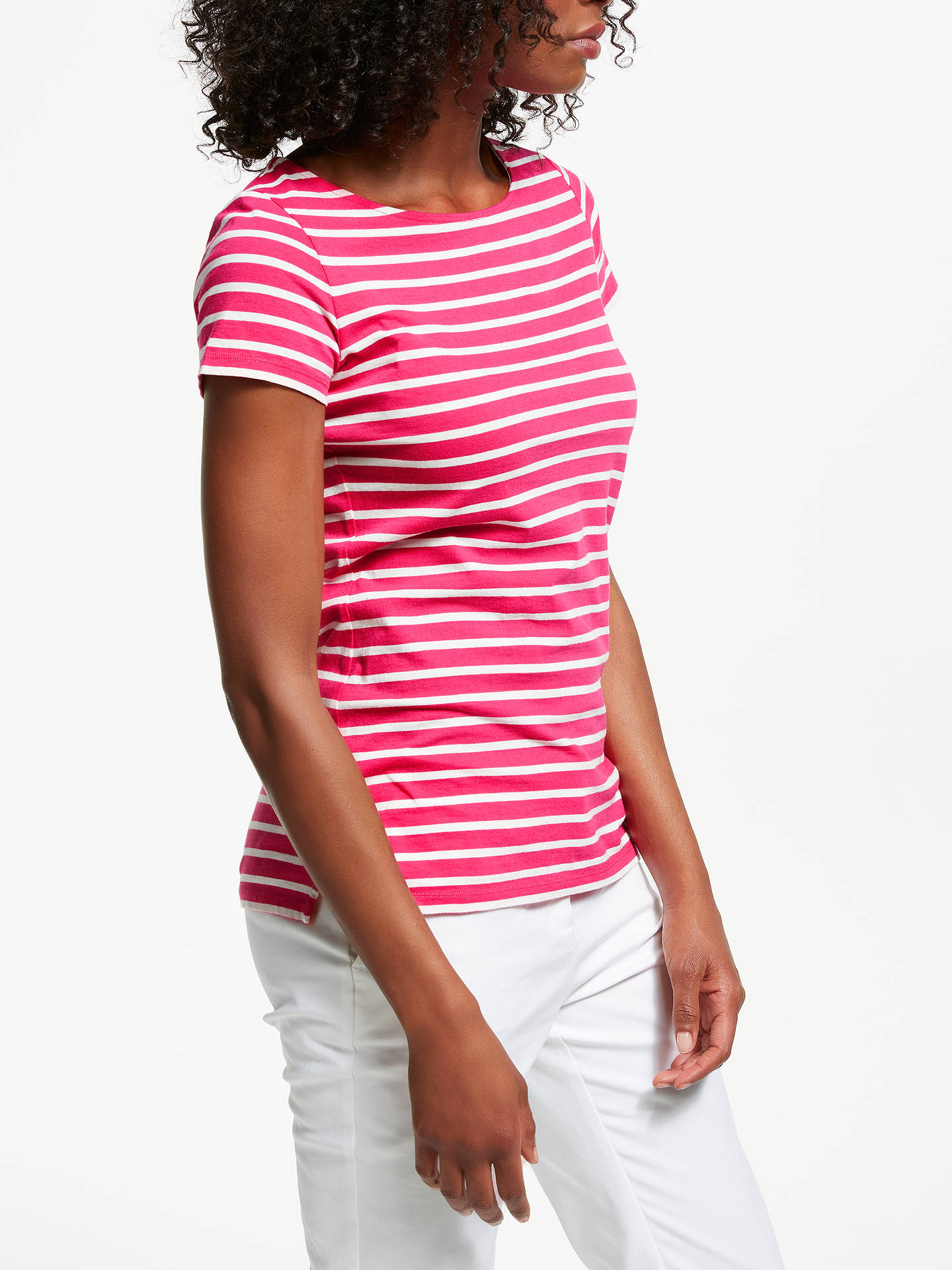 Buy Boden Breton Short Sleeve T-Shirt, Carnival Pink/Ivory, 8 Online at johnlewis.com