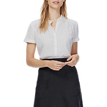Buy Brora Dobby Stripe Blouse, White Online at johnlewis.com