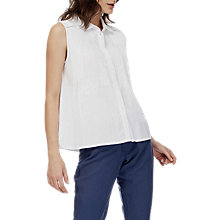 Buy Brora Embroidered Sleeveless Blouse, White Online at johnlewis.com