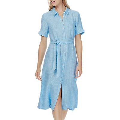 Brora Checked Linen Shirt Dress, Mineral/White