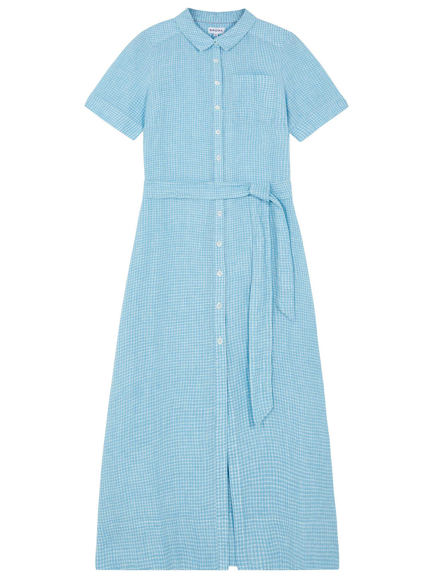 BuyBrora Checked Linen Shirt Dress, Mineral/White, 6 Online at johnlewis.com