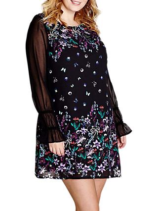 Yumi Curves Floral Shift Dress, Black