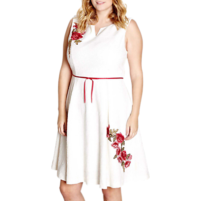 Yumi Curves Embroidered Floral Dress, Ivory