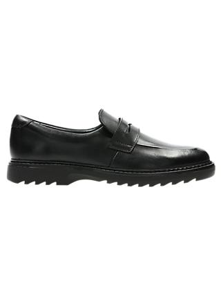 Clarks Children's Asher Stride Slip-On School Shoes, Black Leather