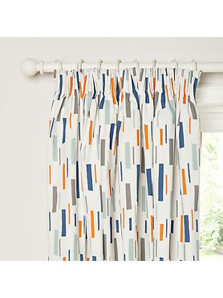 little home at John Lewis Fragments Pencil Pleat Blackout Lined Children's Curtains, Blue
