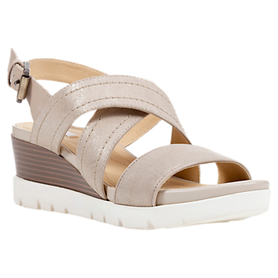 Geox Mary Karmen Cross Strap Wedge Heel Sandals, Gold Leather
