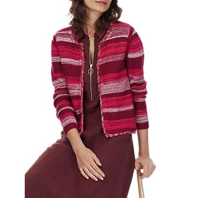 Brora Cotton Stripe Jacket, Beetroot/Hibiscus