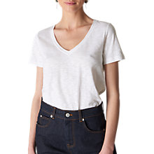 Buy Whistles Sophie V Neck T-Shirt, White Online at johnlewis.com