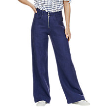 Buy Brora Linen Zip Front Trousers, Indigo Blue Online at johnlewis.com