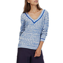 Buy Brora Cotton Cricket Jumper, Chambray/Silver Online at johnlewis.com