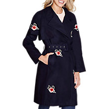 Buy Yumi Embroidered Trench Coat, Dark Navy Online at johnlewis.com