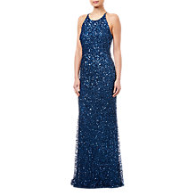 Buy Adrianna Papell Low Back Crunchy Dress, Deep Blue Online at johnlewis.com