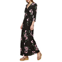 Buy Miss Selfridge Max Floral Wrap Dress, Black Online at johnlewis.com