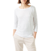 Buy Jigsaw Linen Raglan Sleeve Top, White Online at johnlewis.com