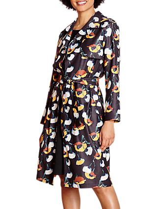 Yumi Floral Woven Trench Coat, Black