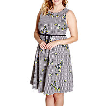 Buy Yumi Curves Embroidered Floral Dress, Black Online at johnlewis.com