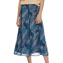 Buy Brora Silk Chiffon Midi Skirt, Indigo/Lemongrass Online at johnlewis.com