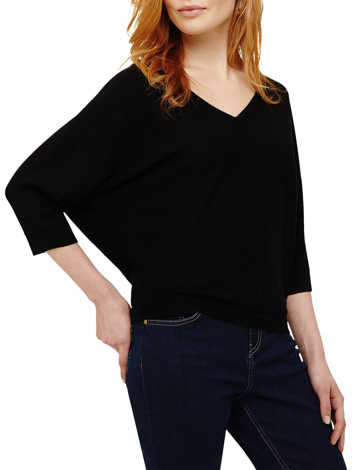 4e3bcdc0a70 Phase Eight Cristine Batwing Jumper, Black at John Lewis & Partners