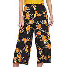 Buy Miss Selfridge Floral Cropped Wide Leg Trousers, Black Online at johnlewis.com