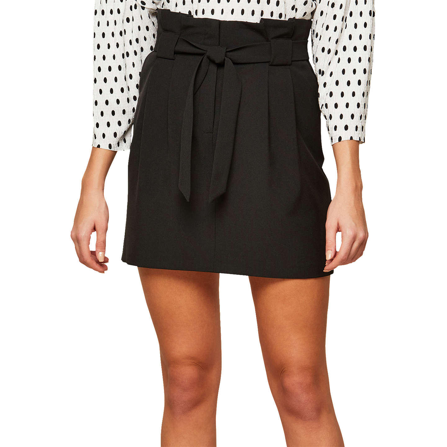 Miss Selfridge Paper Bag Skirt, Black at John Lewis