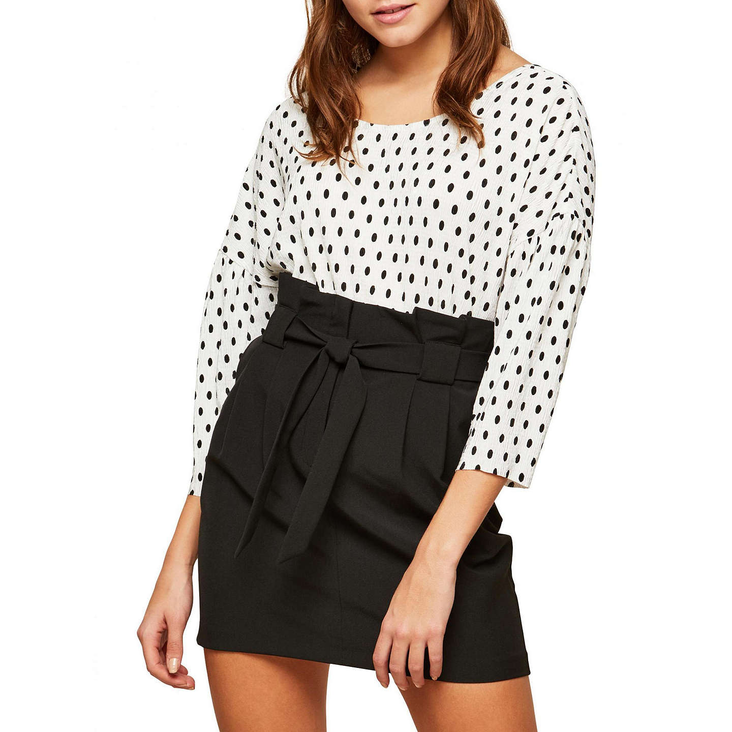 BuyMiss Selfridge Paper Bag Skirt, Black, 10 Online at johnlewis.com