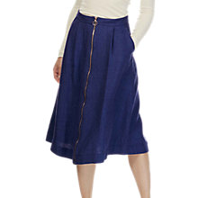 Buy Brora Linen Zip Front Skirt, Blue Online at johnlewis.com