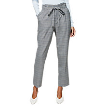 Buy Miss Selfridge Check Paperbag Trousers, Blue Online at johnlewis.com