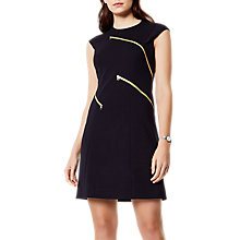 Buy Karen Millen Ponte Zipper Dress, Black Online at johnlewis.com