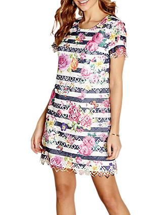 Yumi Patterned Shift Dress, Navy/Multi