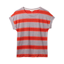 Buy White Stuff Urban Stripe Linen Jersey T-Shirt, Tangerine Orange Stripe Online at johnlewis.com