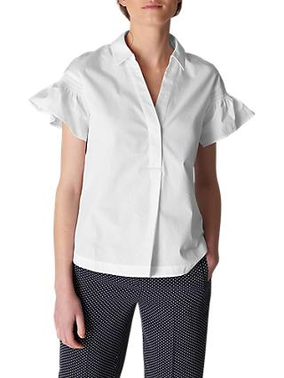 Whistles Frill Poplin Shirt, White
