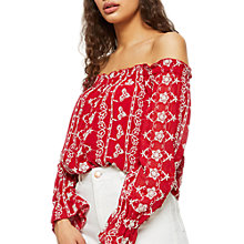 Buy Miss Selfridge Bardot Top, Red Online at johnlewis.com