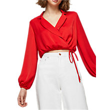 Buy Miss Selfridge Drawstring Crop Shirt, Red Online at johnlewis.com