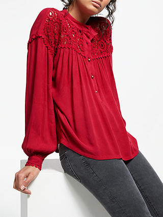 Buy AND/OR Matilda Crochet Panel Top, Red, 8 Online at johnlewis.com