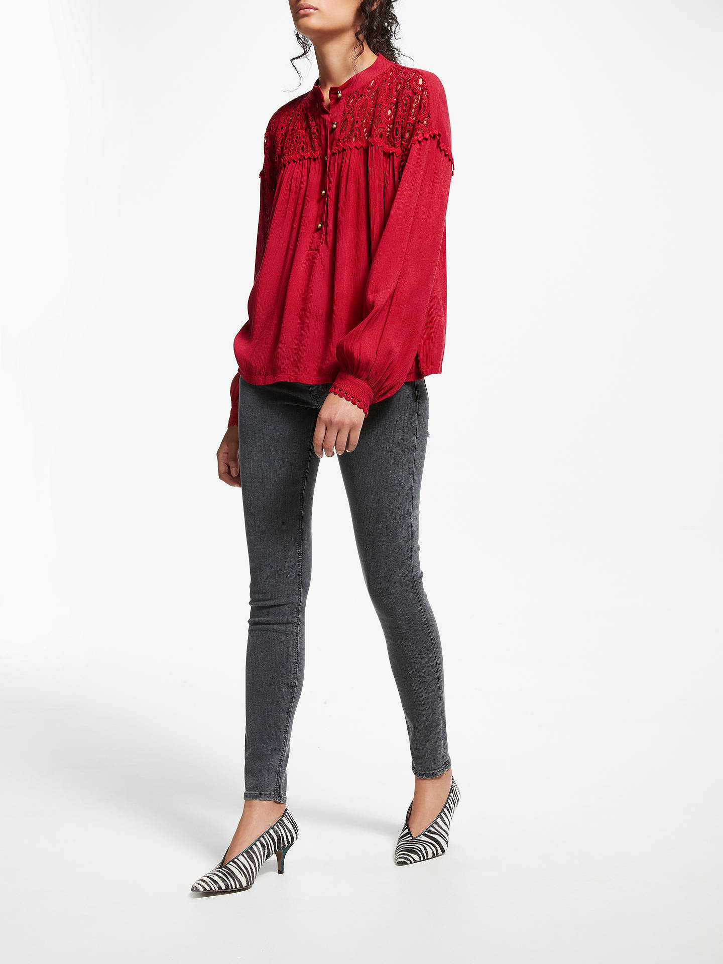 BuyAND/OR Matilda Crochet Panel Top, Red, 8 Online at johnlewis.com