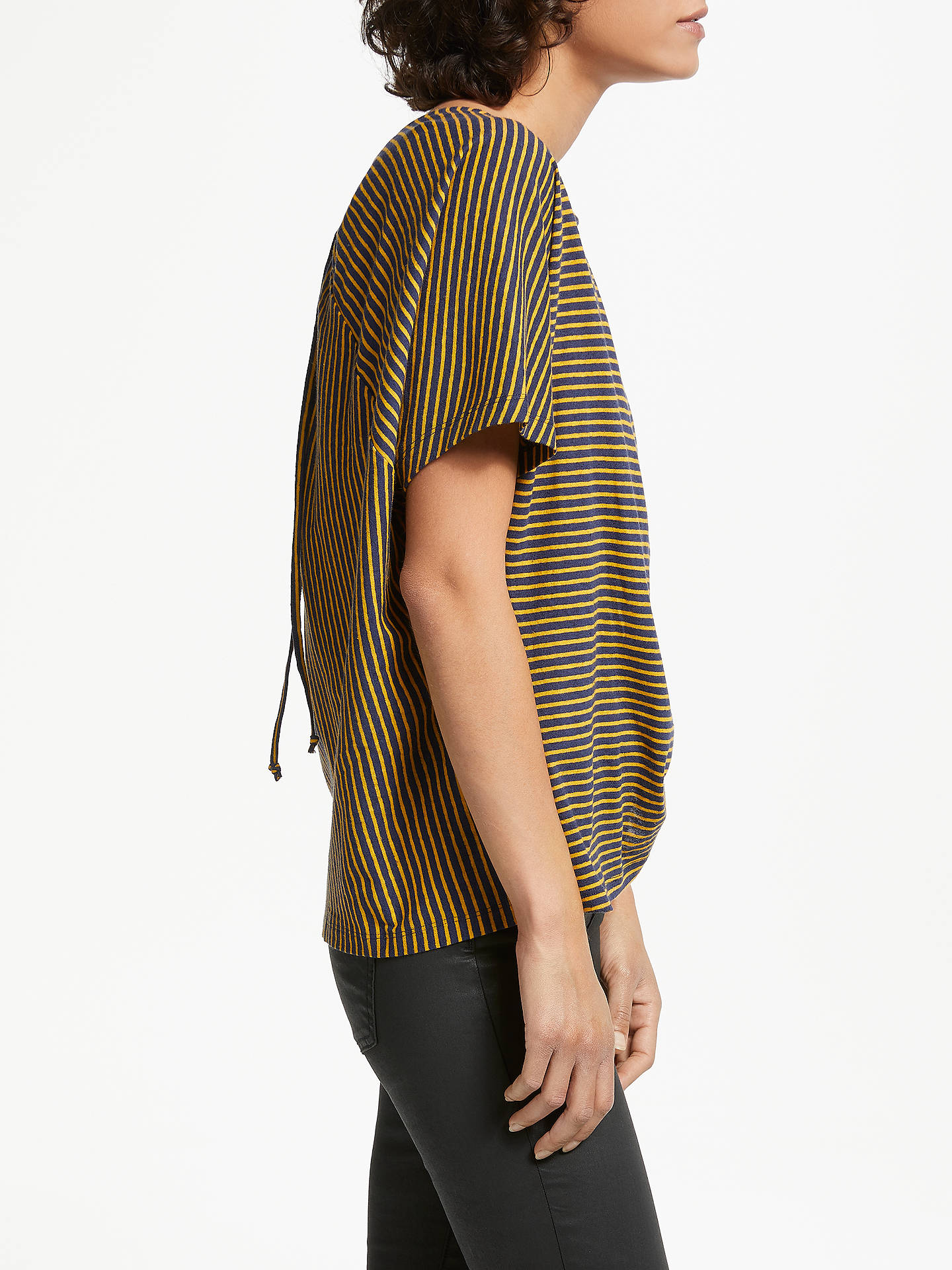Buy AND/OR Lila Keyhole Detail Stripe Top, Navy/Mustard, 8 Online at johnlewis.com