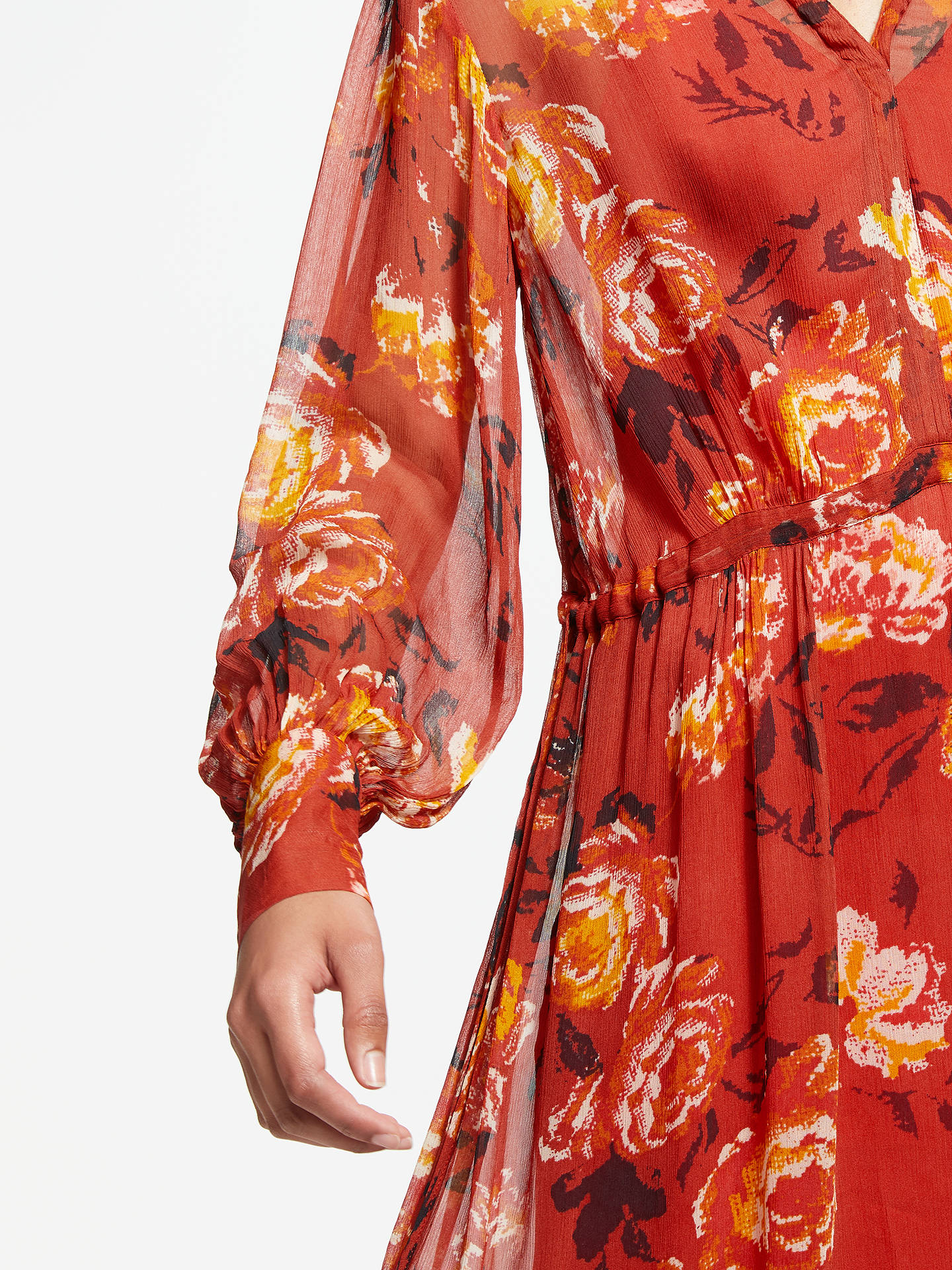 Buy AND/OR Megan Autumn Rose Midi Dress, Red, 8 Online at johnlewis.com