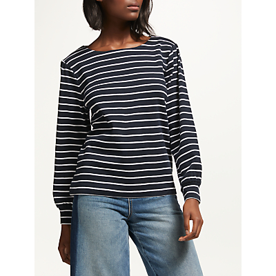 Collection WEEKEND by John Lewis Boatneck Balloon Sleeve Stripe Top, Blue/White