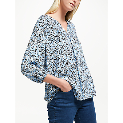 Collection WEEKEND by John Lewis Lavinia Abstract Floral Top, Blue/Black/White