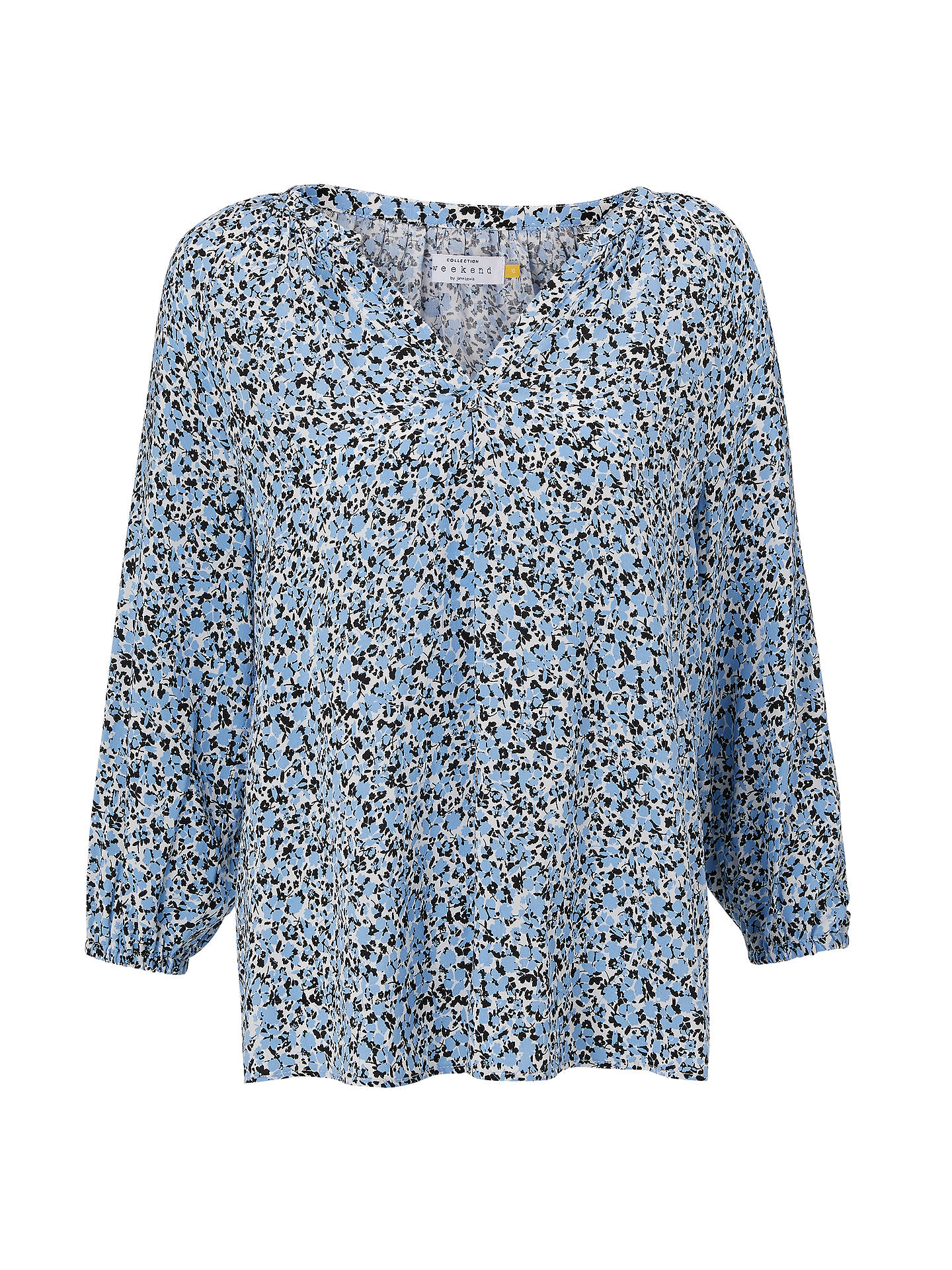 BuyCollection WEEKEND by John Lewis Lavinia Abstract Floral Top, Blue/Black/White, 8 Online at johnlewis.com