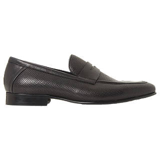 Dune Palazzo Leather Penny Loafers, Black