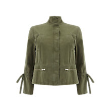 Buy Mint Velvet Tie Sleeve Jacket, Khaki Online at johnlewis.com